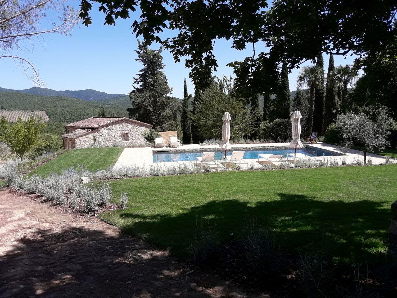 Giardini mgf villa a gaiole in chianti for Piani del padiglione della piscina